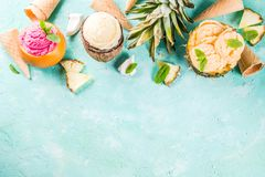 Various tropical ice cream sorbet. Summer holiday vacation concept, set various tropical ice cream sorbets, frozen juices in pineapple, grapefruit and coconut Stock Images