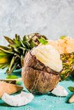 Various tropical ice cream sorbet. Summer holiday vacation concept, set various tropical ice cream sorbets, frozen juices in pineapple, grapefruit and coconut stock photo