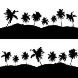 Various tropical palm tree landscape black symbols Stock Photography