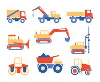 Various Trucks and Construction Machinery Graphics Stock Images