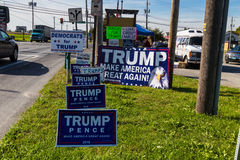 Various Trump Campaign Signs at Roadside Stand Stock Photos