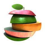 Various type of fruit slices stacked Stock Photos