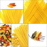 Various type of Italian pasta collage Royalty Free Stock Images