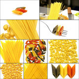 Various type of Italian pasta collage. On a square frame Stock Photo