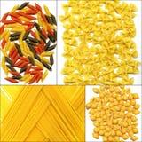 Various type of Italian pasta collage stock image