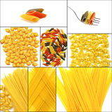 Various type of Italian pasta collage. On a square frame Stock Image