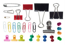 Various type of paper clip Stock Photos