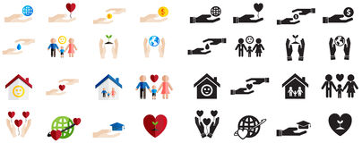 Various type of silhouette and colorful charity and donation fun. Ding sign and symbol icon collection set, create by vector Royalty Free Stock Images