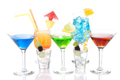 Various types of alcohol Cocktails Stock Photography