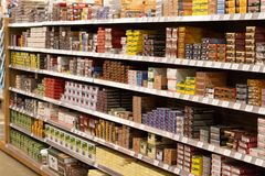 Various types of ammunition line shelves of a popular hunting and sporting goods retailer royalty free stock photography