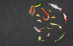 Various types of artificial bait for angling for fish. Various types of artificial bait for angling on predatory fish such as: Plug, Soft plastic bait, Ripper Royalty Free Stock Photos