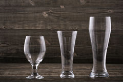 Various types beer glasses Stock Photography