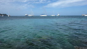 Various types of boats at admiralty bay. A cruise ship and sailboats anchored in the shelter of admiralty bay, bequia stock video