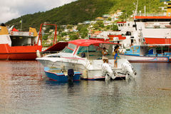 Various types of boats at admiralty bay Stock Photos