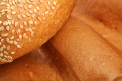 Various types of bread. Various types of freshly baked bread royalty free stock photos