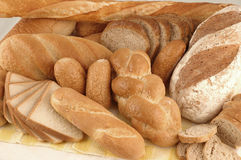 Various types of bread. Arrangement of various types of bread Royalty Free Stock Photo