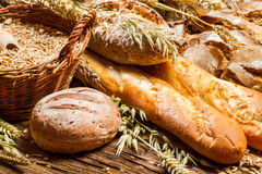 Various types of bread in a baker pantry Royalty Free Stock Image