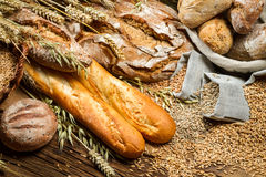 Various types of bread in a baker pantry Stock Photo