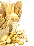 Various types of bread in the basket Stock Photography