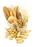 Various types of bread in the basket Royalty Free Stock Images
