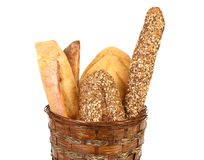 Various types of bread in a basket. Stock Photo