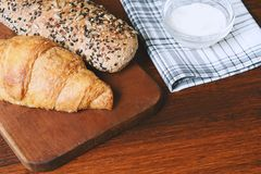 Various types of bread with dip of cream cheese Stock Photos