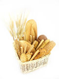 Various types of bread and other wheat products Stock Images