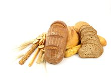 Various types of bread and other wheat products Stock Image