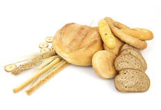 Various types of bread and other wheat products Royalty Free Stock Photography
