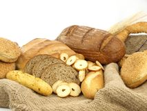 Various types of bread and other wheat products Royalty Free Stock Photo