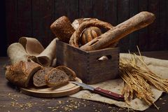 Various types of bread products stock photography
