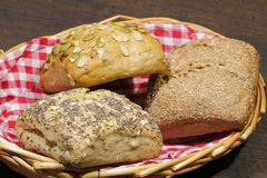 Various types of bread rolls, cakes, bun Stock Images