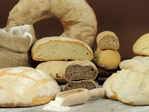 Various types of bread, white and whole grain bread loafs fresh royalty free stock images