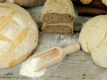 Various types of bread, white and whole grain bread loafs fresh royalty free stock photography