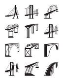 Various types of bridges in perspective. Vector illustration Stock Photos