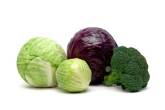 Various types of cabbage isolated on a white background Stock Images