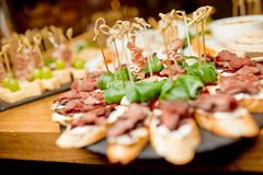 Various types of canapes royalty free stock image