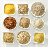 Various types of cereal grains Stock Image