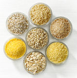 Various types of cereal grains Royalty Free Stock Photos