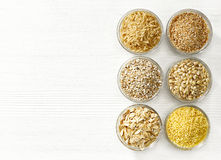 Various types of cereal grains Stock Photography