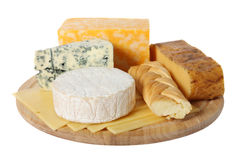 Various types of cheese. On wooden platter, isolated on white background Royalty Free Stock Image