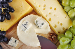 Various types of cheese. And grapes composition closeup stock photos