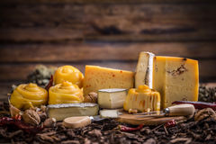 Various types of cheese. Various types of artisan cheese royalty free stock image