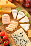 Various types of cheese board composition with tomato Royalty Free Stock Photo