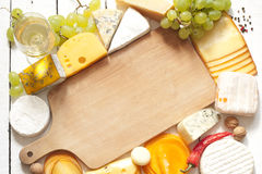 Various types of cheese border Royalty Free Stock Images