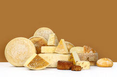 Various types of cheese with bread stock photos
