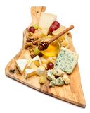 Various types of cheese - brie, camembert, roquefort and cheddar stock photography