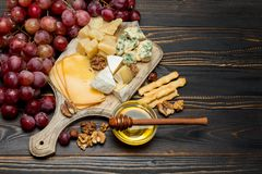 Various types of cheese - brie, camembert, roquefort and cheddar stock image
