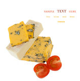 Various types of cheese with cherry isolated on white Royalty Free Stock Photo