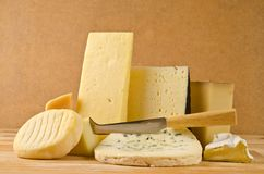 Various types of cheese. Composition royalty free stock images